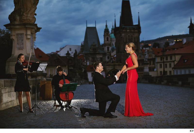 A beautiful wedding proposal Prague Charles Bridge
