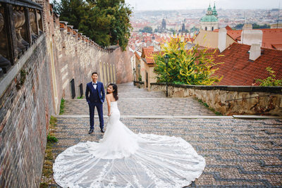 Prague destination pre wedding photos Castle Steps