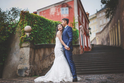 destination pre wedding photos Prague Castle Steps