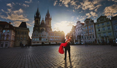 Old Town Square Prague Engagement Photos