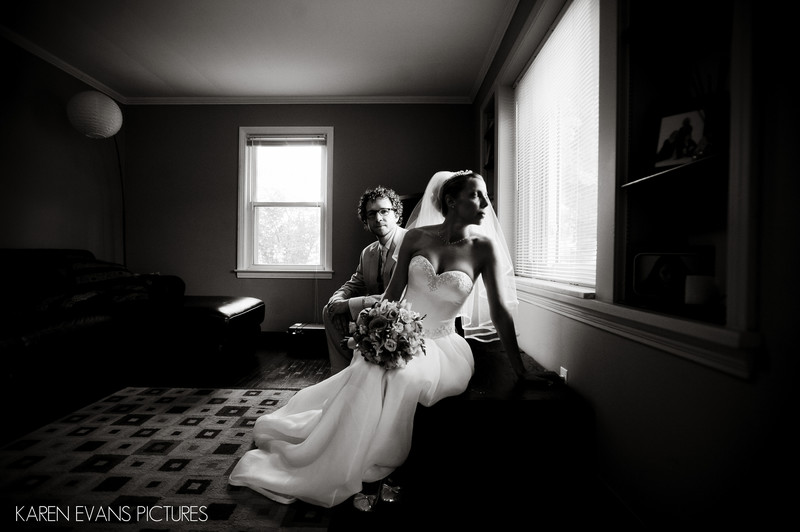 Bride and Groom Portrait at Home in Columbus Ohio