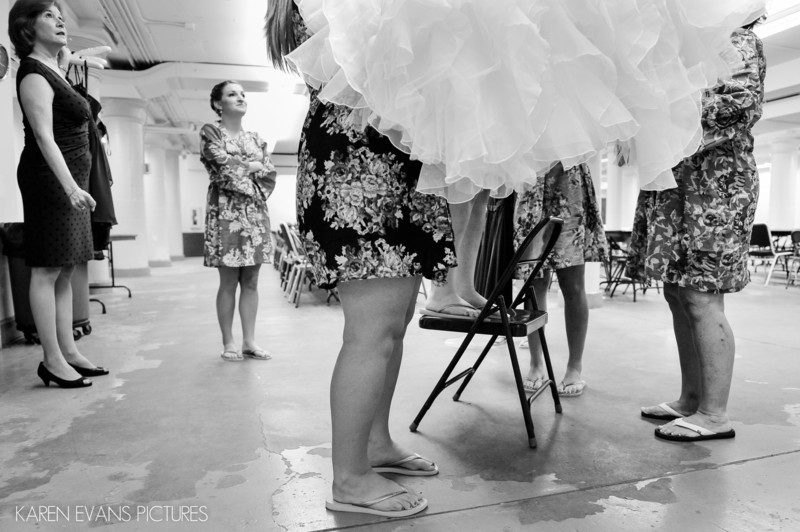 Bride Putting on Wedding Gown at Columbus Ohio Wedding