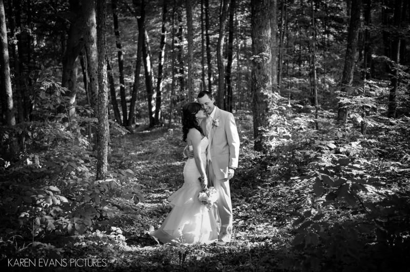Bride and Groom Portrait in Woods at Outdoor Wedding