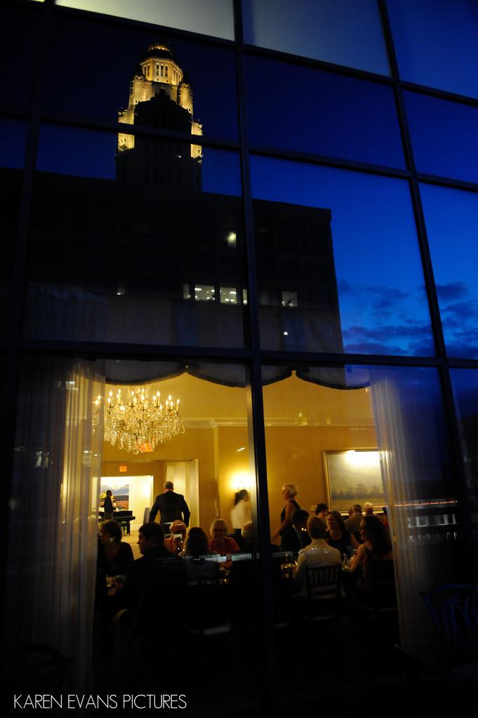 Downtown Skyline Reflection in Capital Club Windows