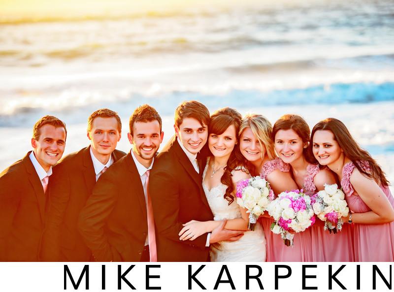Baker Beach Sunset Wedding Bridal Party