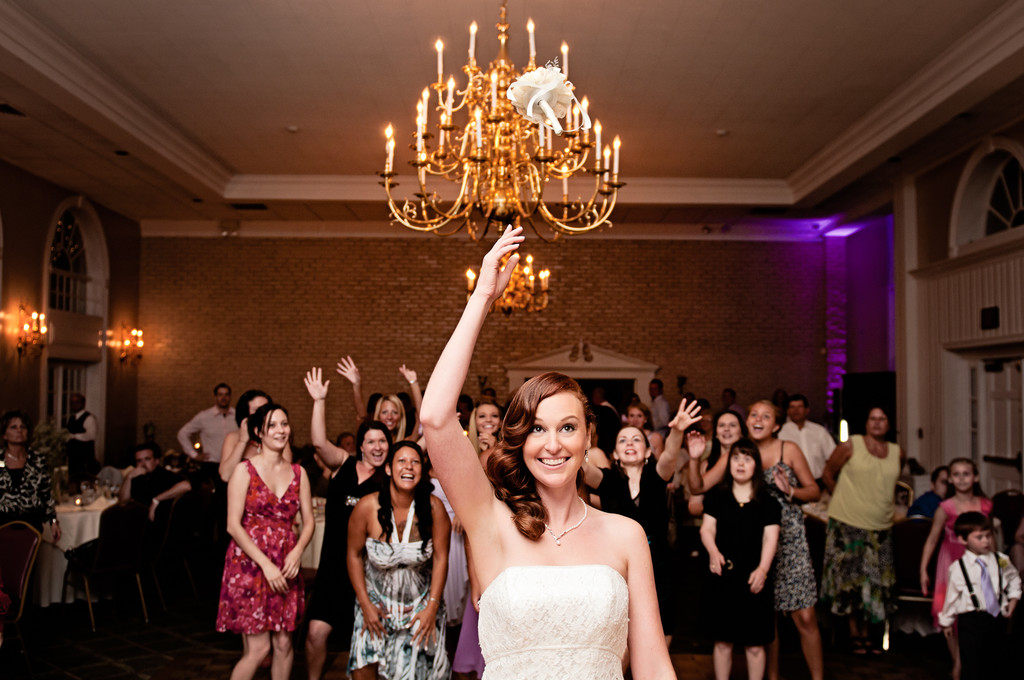 Bride throwing Bouquet at South Jersey Wedding