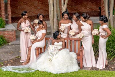 Nigerian bride and bridesmaids in Houston