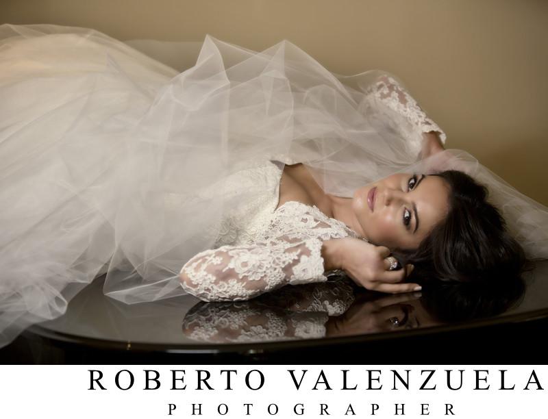 Beverly Hills Hotel Wedding Bride Portrait