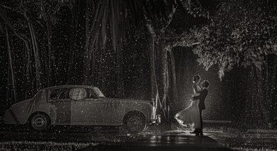 Ringling Museum Rain Wedding Photograph at Night