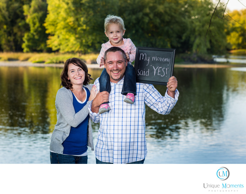 Gig Harbor Photographer Engagement Session with Signs