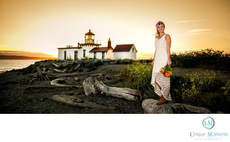 Best Sunset Bridal Portraits Seattle Washington