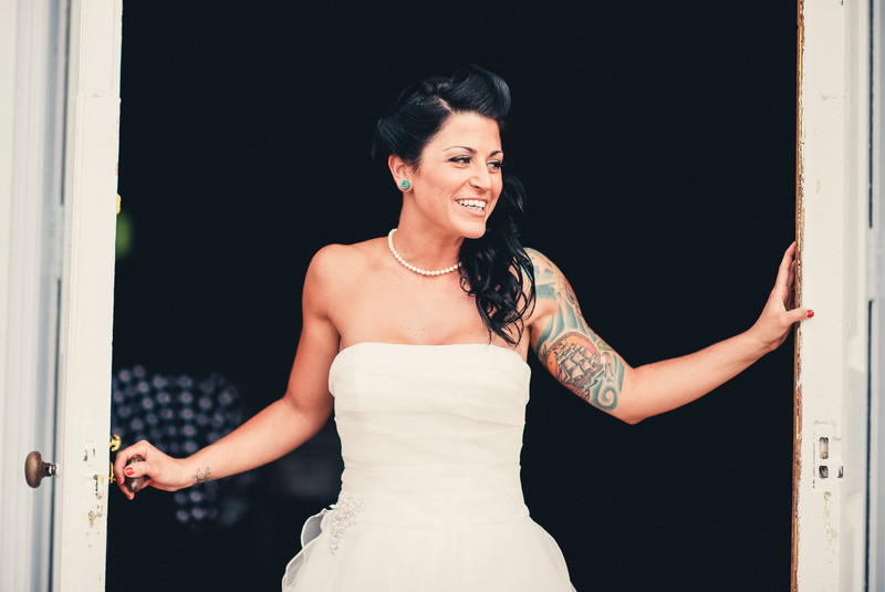 Beautiful bride with tattoos philadelphia weddings for Tattoos and wedding dresses