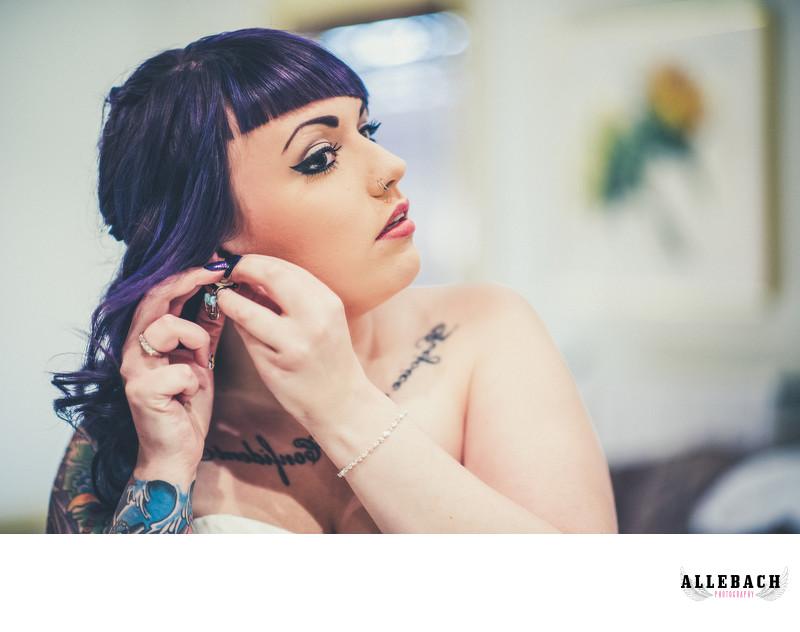 Tattooed Bride Getting Ready Photos