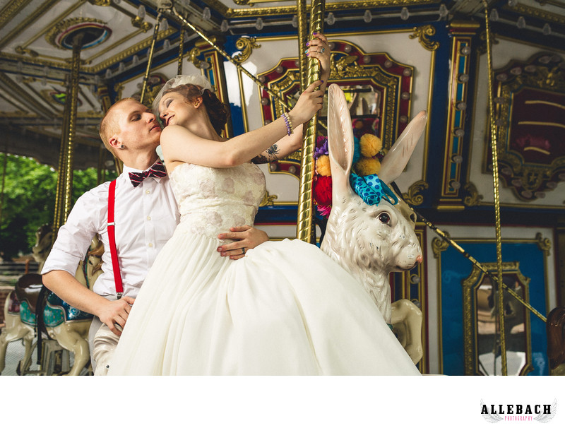 Tattooed Bride Merry-go-Round Zoo Wedding