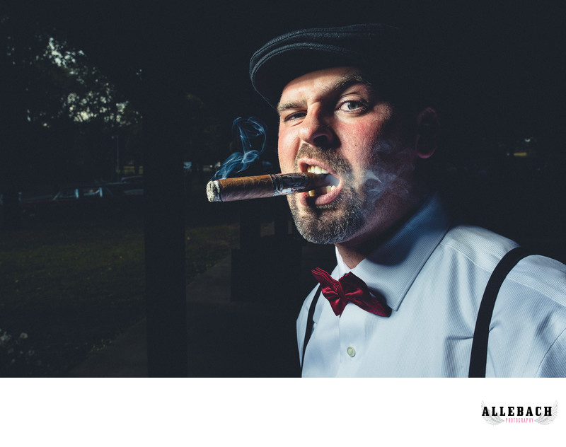 Tattooed Groom Smoking Cigar in New Jersey Wedding