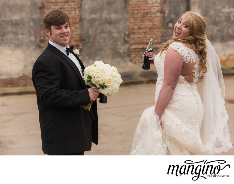 Fun Bride sports Coke and a Smile in Hattiesburg, MS