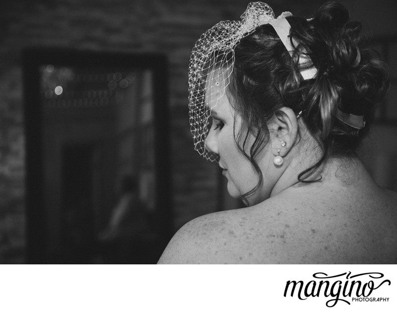 The Bride with the Eyelashes, Pearls and Vintage Fascinator