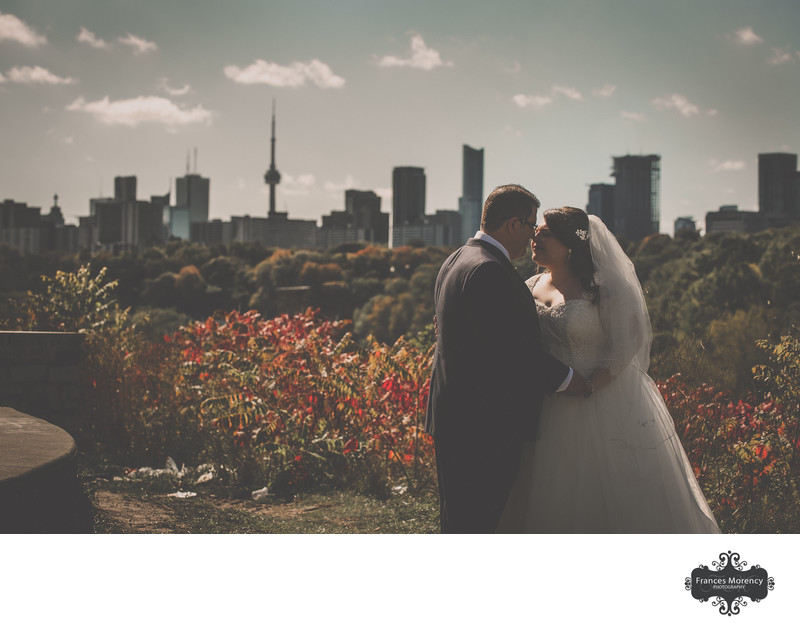 Toronto Skyline Couple Portrait during First Look at Evergreen