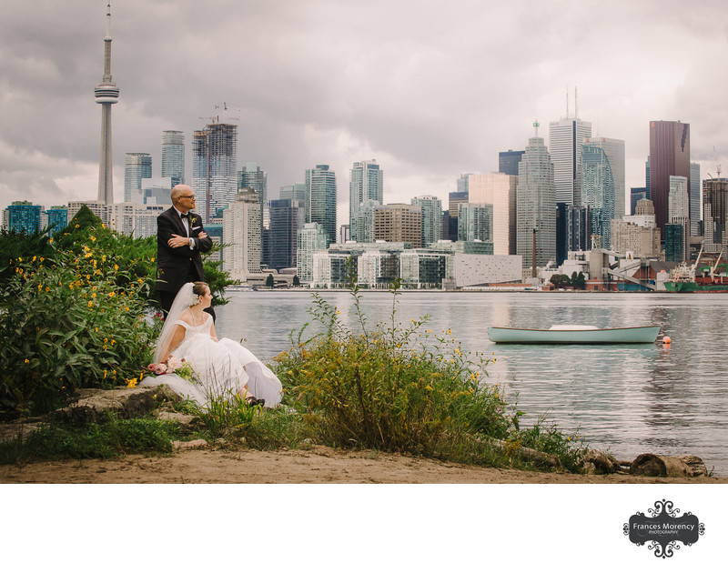 Wedding Portrait with Toronto Skyline from Wards Island