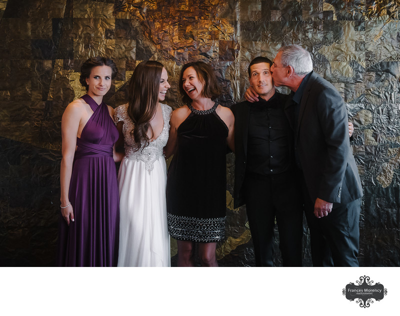 Candid Family Photo at Canoe Restaurant Wedding