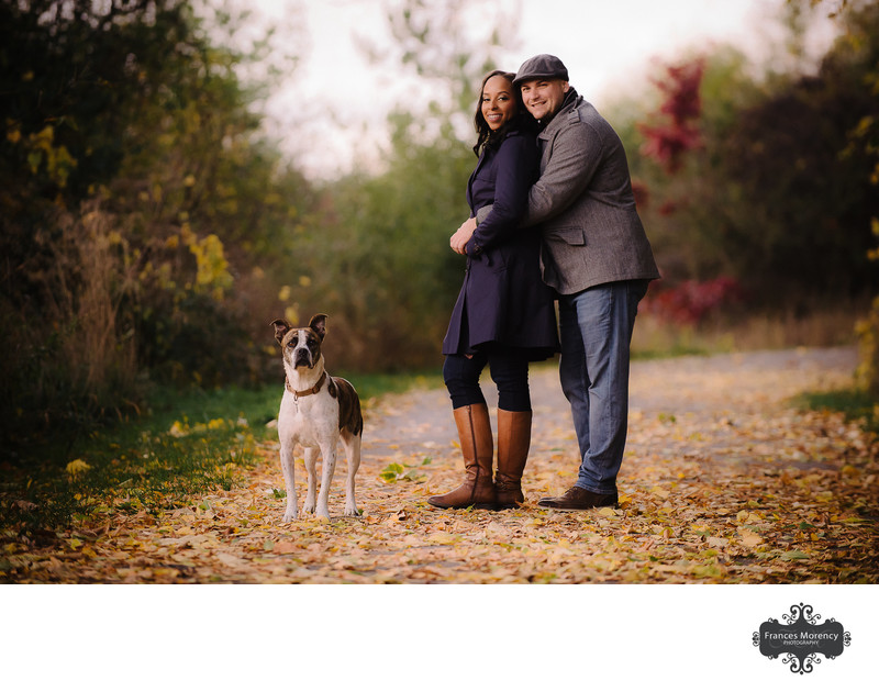 Toronto Fall Engagement Photography with Dog