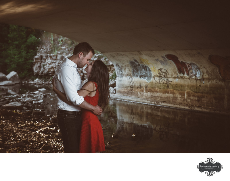 Toronto Engagement Session under Bridge with Grafitti