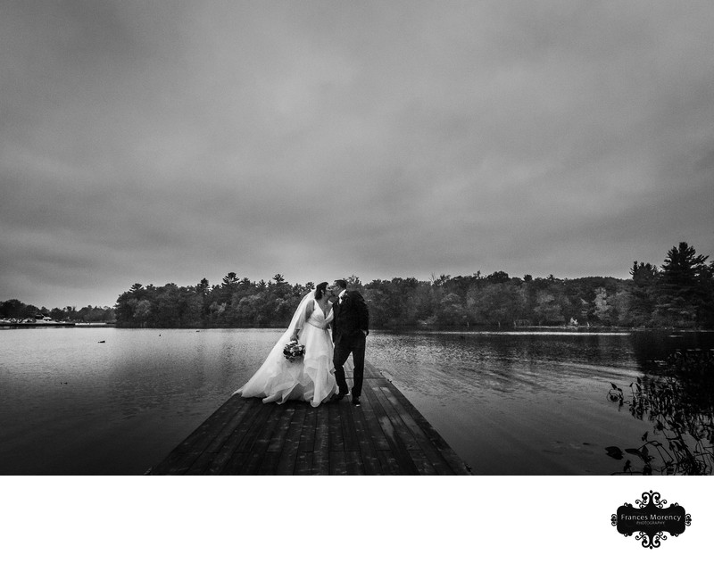 Muskoka Wedding Photos with Bride and Groom on Dock
