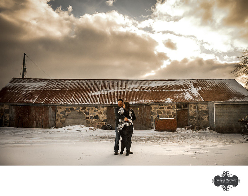 Owen Sound Farm Engagement at Golden Hour