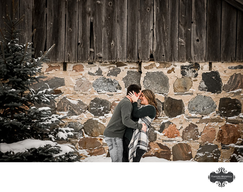 Owen Sound Farm Winter Engagement by Stone Wall