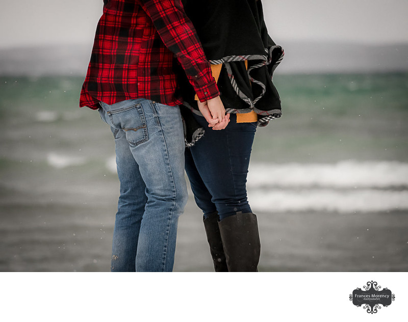 Georgian Bay Engagement Photo by the Water in Winter