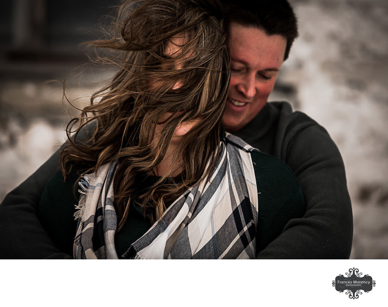 Windy Winter Engagement in Owen Sound