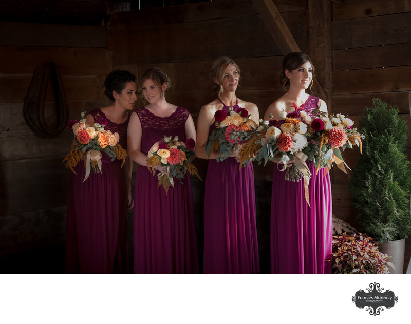 Wedding Ceremony in Barn with Bridesmaids in Pink