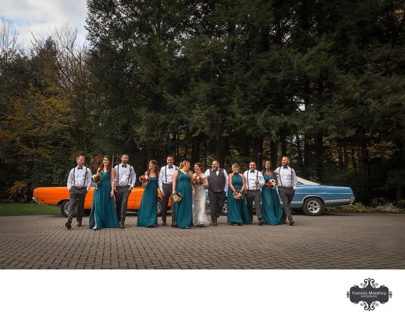 Bridal Party Pic with Antique Cars at Pheasant Run Golf