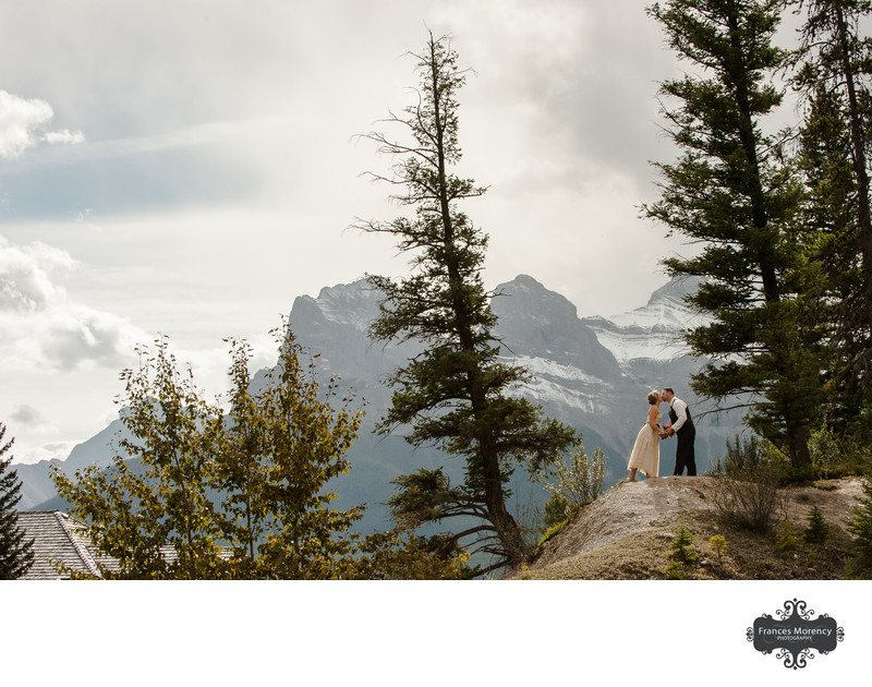 Calgary Wedding Photography with Three Sisters Backdrop