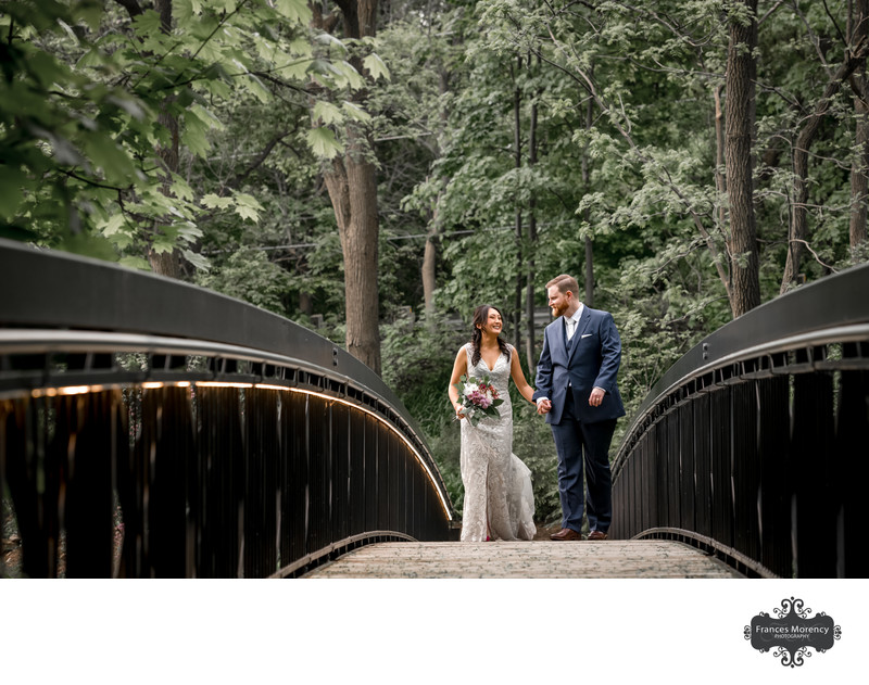 Ancaster Mill Wedding Photo on Bridge