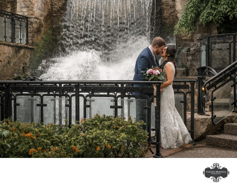 Ancaster Mill Wedding Photo with Waterfall Backdrop