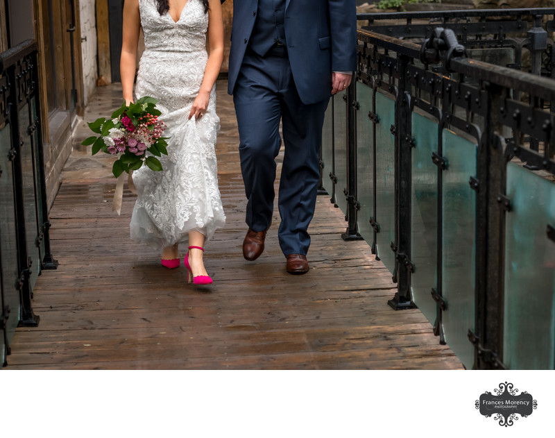 Ancaster Mill Bride with Pink Shoes on Wedding Day