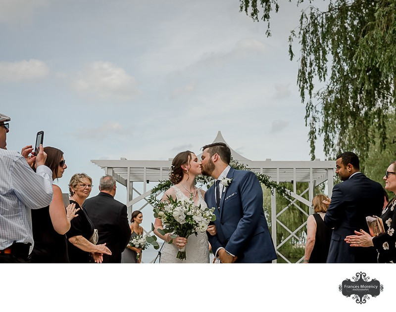 Bride Groom Kissing Photo at Bear Estate Wedding