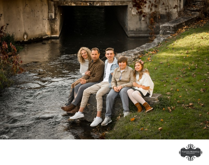 Fall Family Photos in Erin by the Creek