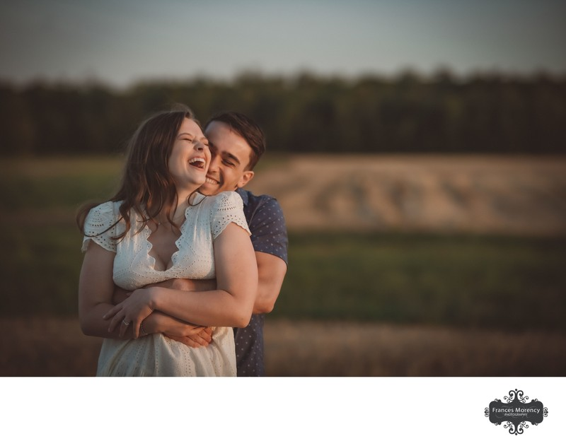 Golden Hour Portraits with Engagement Couple in Field