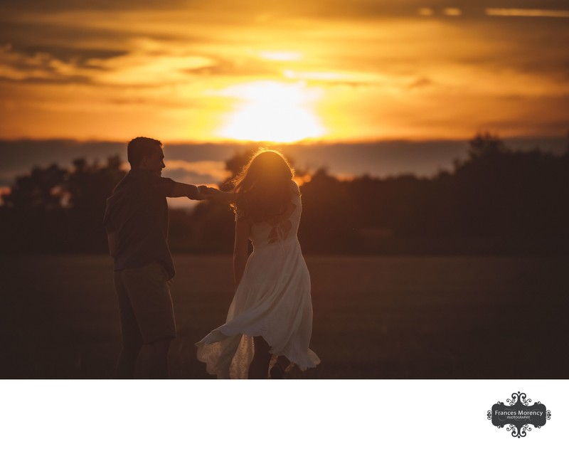 Sunset Photography with Engagement Couple in Field