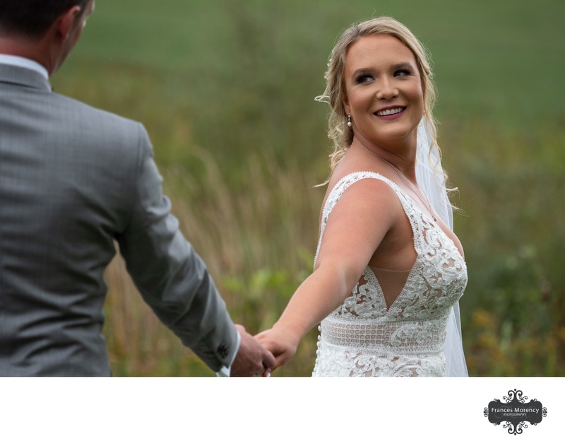 Lace Wedding Dress:  Markdale Wedding Photographer