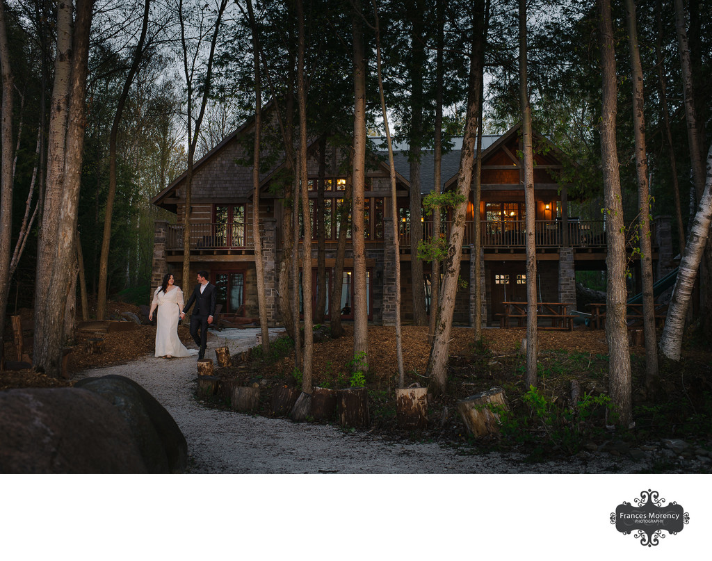 Couple Walking at Serenity Cottage Wedding