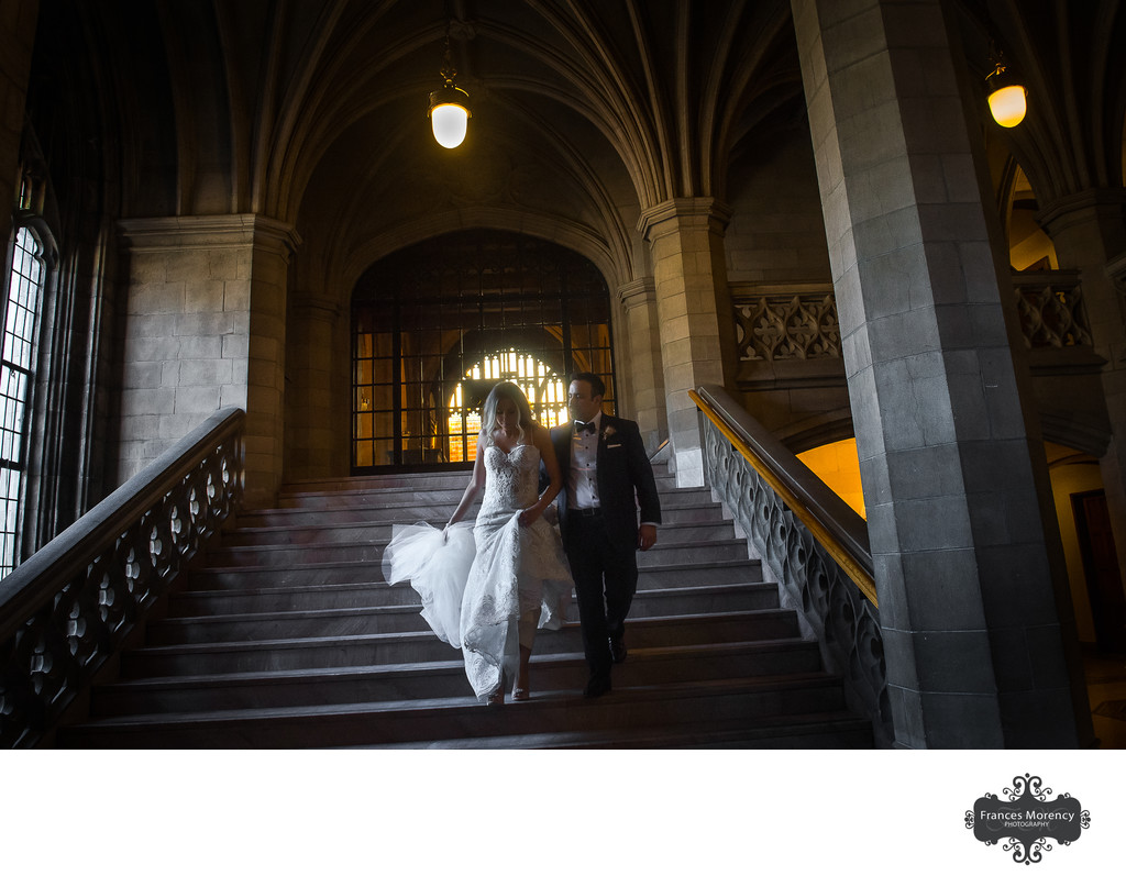 Bride Groom Walking Down Stairs:  Toronto Knox College