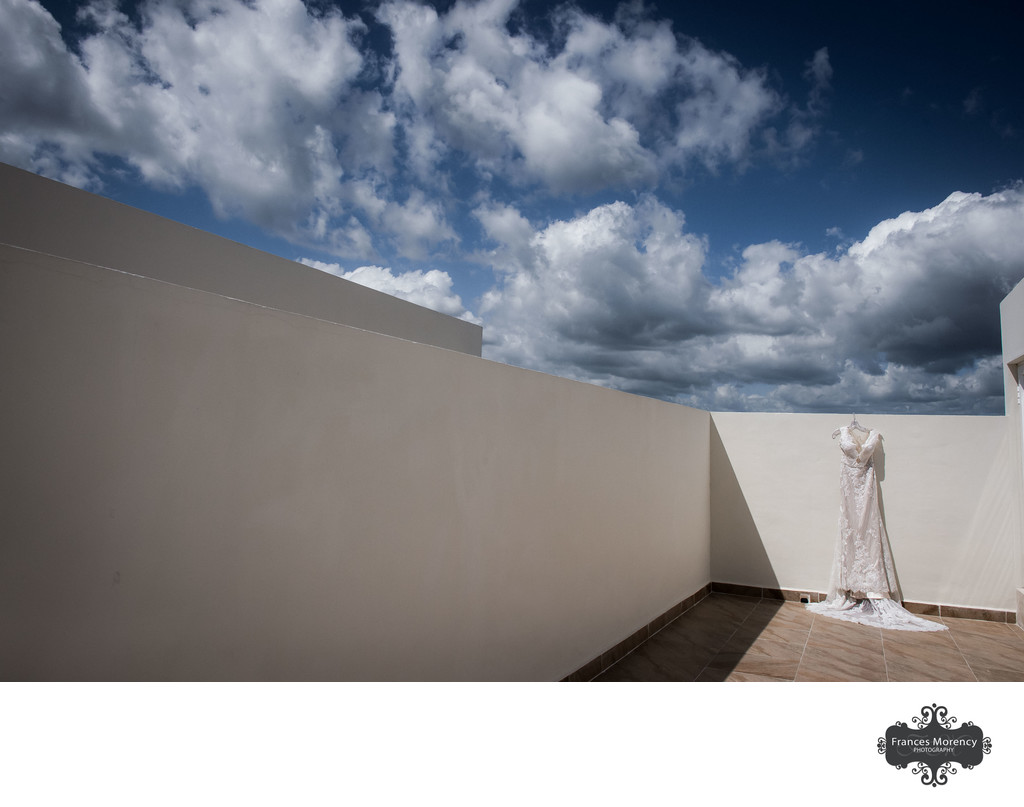 Mexico Photograph of Wedding Dress on Resort Rooftop