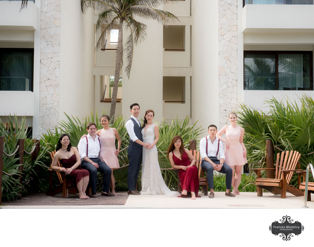 Mexico Waterfront Portrait on Beach with Bridal Party