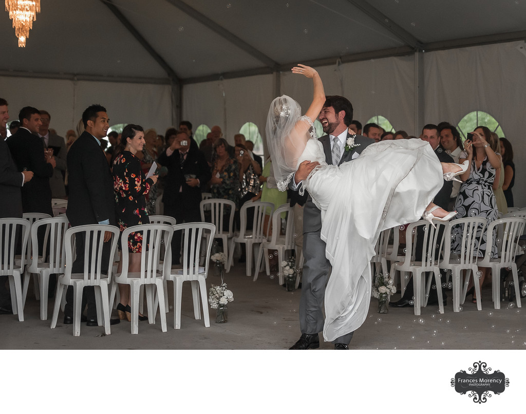 Groom Picks Up Bride:  Liuna Gardens Wedding