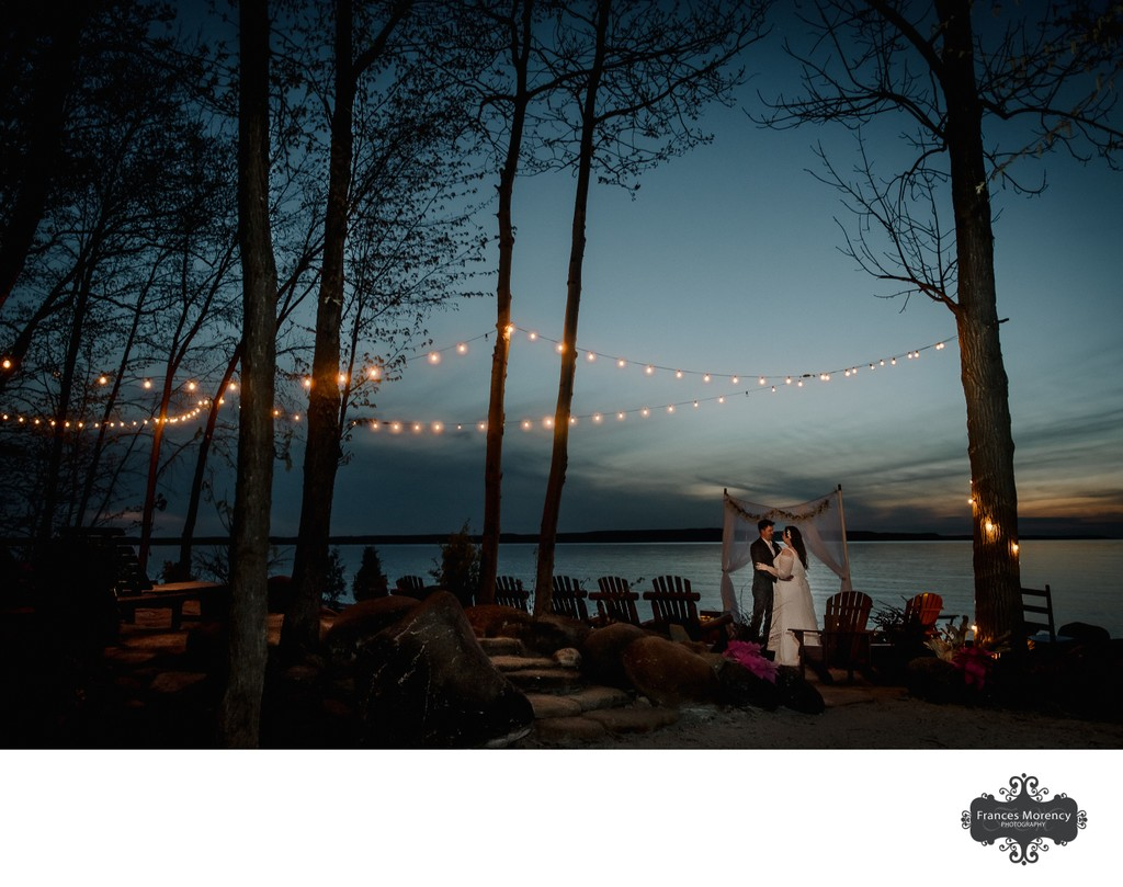 Serenity Cottage Night Photo of Bride and Groom