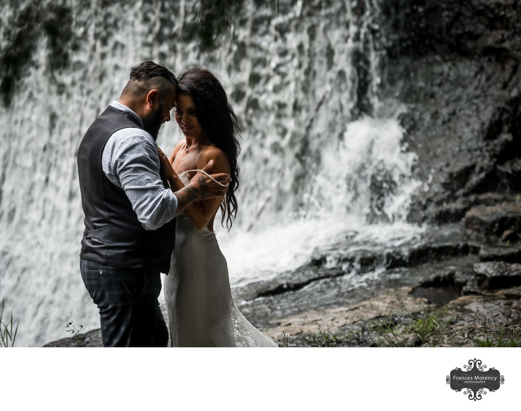Bride and Groom Photos Next to Waterfall