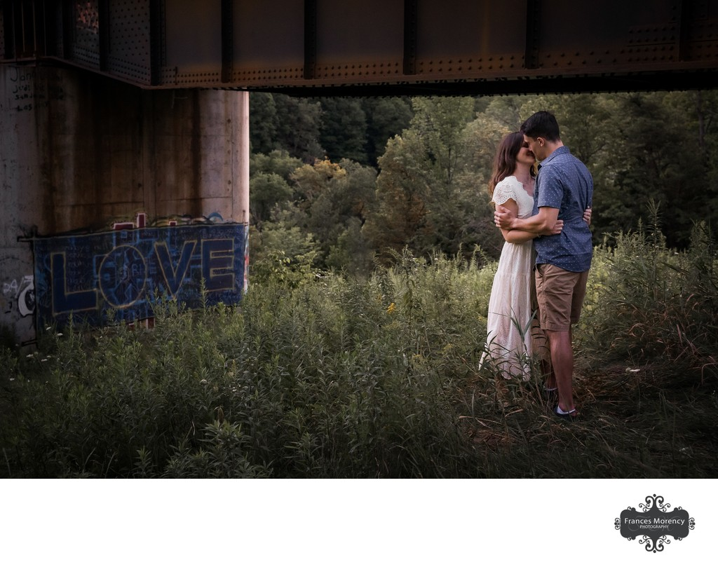 Engagement Photos Under Train Trestle
